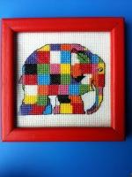Cross-stitched Elmer