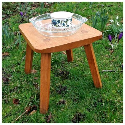 Wooden stool, Pyrex dish and ramekin