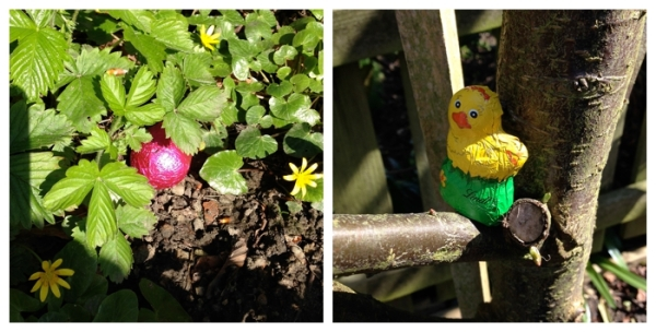 Easter eggs and treats hidden in the garden